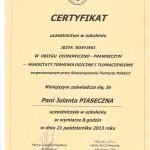"""Certyfikat uczestnictwa w szkoleniu """"Język rosyjski w obiegu ekonomiczno-prawniczym"""""""