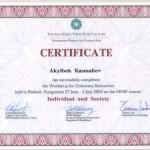 """Certyfikat uczestnictwa w warsztatach """"Jednostka i społeczeństwo"""""""