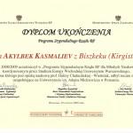 Dyplom ukończenia Programu Stypendialnego Rządu RP dla Młodych Naukowców