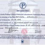 Świadectwo ukończenia Językowo-Adaptacyjnego Kursu Języka Polskiego i Kultury Polskiej UW