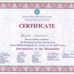 """Certyfikat uczestnictwa w warsztatach """"Wprowadzenie do nauk humanistycznych"""""""